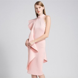 Pink Ladies Half Neck Strapless Ruffled Formal Dress found on MODAPINS from Zilingo AU for USD $72.89
