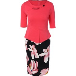 Floral Spliced Sheath Work Dress found on MODAPINS from Zilingo AU for USD $28.12