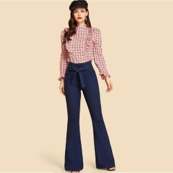 New Washed Jeans High Waist Straps Slim Slimming Flared Jeans found on MODAPINS from Zilingo AU for USD $31.10