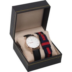 Assembly72 Set Watch Black Leather With Nato Navy-red found on Bargain Bro India from Zilingo AU for $46.19