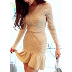 5923ea8ca2c Fashionable V-neck Solid Color Packet Buttock Knitted Long Sleeve Women s  Dress found on MODAPINS