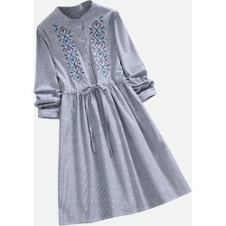 Embroidered Patch Striped A Line Dress found on MODAPINS from Zilingo AU for USD $26.14