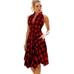 Women Sleeveless Casual Shirt Party Irregular Plaid Dress found on MODAPINS from Zilingo AU for USD $30.66