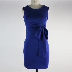 Women's Blue Bowknot Sleeveless Work Dress found on MODAPINS from Zilingo AU for USD $80.17