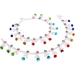 Pankh Multi Color Silver Ethnic Anklets
