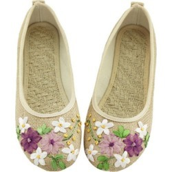 New Women Flower Flats Slip On Cotton Fabric Casual Shoes found on Bargain Bro India from Zilingo AU for $27.28