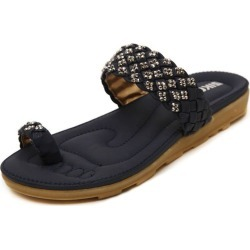 Ble Women Bohemian Diamante Rhinestones Toe Ring Slide Flat Sandals found on Bargain Bro India from Zilingo AU for $39.37