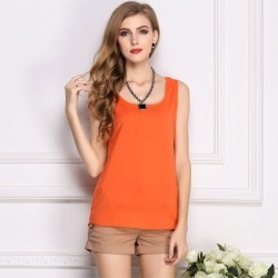 New Fashion Women Tank Top Chiffon Candy Color Crew Neck Sleeveless Casual Vest Blouse Tops found on MODAPINS from Zilingo AU for USD $22.76