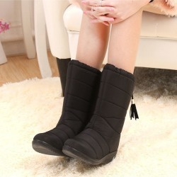 Women Comfortable Winter Snow Boots Solid Elastic Band Plush Short Boots found on Bargain Bro India from Zilingo AU for $24.93