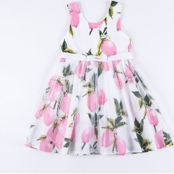 Dress Sleeveless Lemon Princess Kids Girls Dress