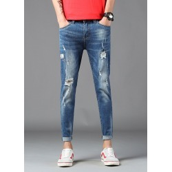 Mens Crop Jeans Slim Fit Distressed Holes Casual Pants found on MODAPINS from Zilingo AU for USD $32.59