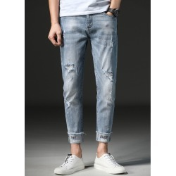 Mens Distressed Holes Crop Jeans Slim Casual Pants found on MODAPINS from Zilingo AU for USD $37.64