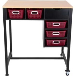 Standing Workstation With Single Color Baskets Royal Red by Really Good Stuff Inc
