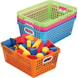 Book Baskets, Large Rectangle Neon Colors by Really Good Stuff Inc