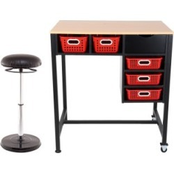 Standing Workstation With Teacher Kore Chair And Single Color Baskets Red by Really Good Stuff Inc