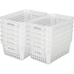 Book Baskets Medium Rectangle White by Really Good Stuff Inc