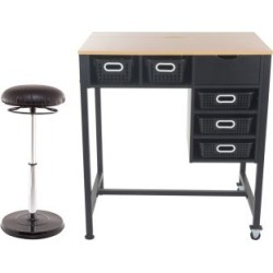 Standing Workstation With Teacher Kore Chair And Single Color Baskets Black by Really Good Stuff Inc