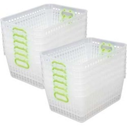 Book Baskets, Large Rectangle Clear Green Neon by Really Good Stuff Inc