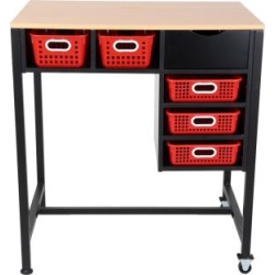 Standing Workstation With Single Color Baskets Red by Really Good Stuff Inc