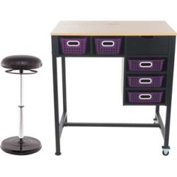 Standing Workstation With Teacher Kore Chair And Single Color Baskets Royal Purple by Really Good Stuff Inc