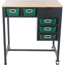Standing Workstation With Single Color Baskets Royal Green by Really Good Stuff Inc
