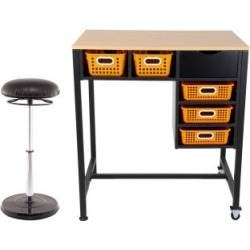 Standing Workstation With Teacher Kore Chair And Single Color Baskets Orange by Really Good Stuff Inc