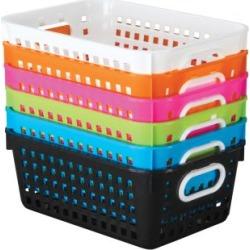 Neon Pop 6 Pack Medium Book Baskets by Really Good Stuff Inc