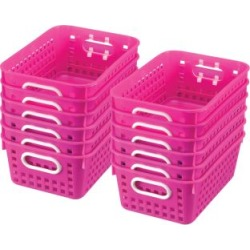 Book Baskets Medium Rectangle Pink Neon by Really Good Stuff Inc