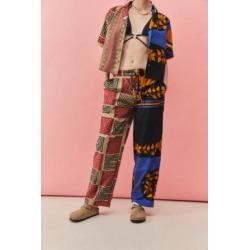UO Tie Waist Patterned Trousers - Blue XS at Urban Outfitters found on Bargain Bro UK from Urban Outfitters (EU)
