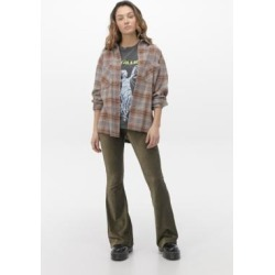 Urban Renewal Inspired By Vintage Khaki Ribbed Velour Flare Trousers - green L at Urban Outfitters