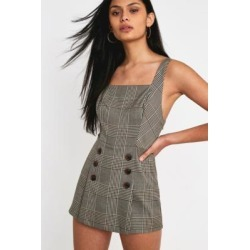 UO Cassidy Checked Button-Front Playsuit found on MODAPINS from Urban Outfitters (UK) for USD $27.70