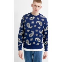 Lacoste LIVE Navy Paisley Print Crew Neck Sweatshirt - Mens L found on MODAPINS from Urban Outfitters (EU) for USD $128.70