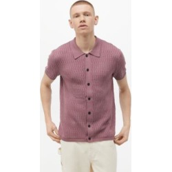 UO Purple Textured Button-Up Jumper Shirt - Purple L at Urban Outfitters found on Bargain Bro UK from Urban Outfitters (UK)