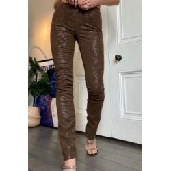 Jaded London Brown PU Flare Trousers - Brown UK 6 at Urban Outfitters found on MODAPINS from Urban Outfitters (UK) for USD $83.33