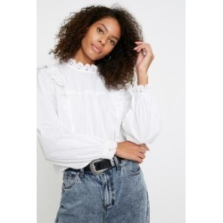 UO Broderie Babydoll Blouse - White XS at Urban Outfitters found on Bargain Bro UK from Urban Outfitters (UK)