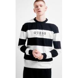 GUESS Originals - Sweatshirt universitaire rayé ras du cou noir, exclusivité UO