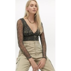 Urban Renewal Inspired By Vintage Ashby Khaki Mesh Top - green L at Urban Outfitters