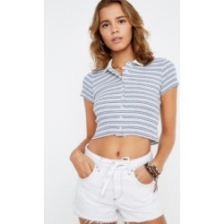 UO Navy Stripe Button-Through Polo Shirt found on MODAPINS from Urban Outfitters (UK) for USD $30.50