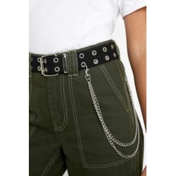 UO Double Eyelet & Chain Webbing Belt - Black ALL at Urban Outfitters found on Bargain Bro UK from Urban Outfitters (UK)