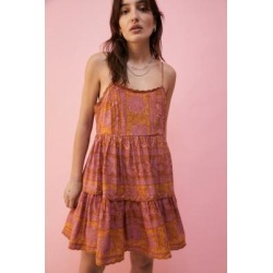 UO Hanna Printed Mini Dress - Orange M at Urban Outfitters found on Bargain Bro UK from Urban Outfitters (EU)