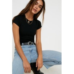 UO Ribbed Baby T-Shirt - Black XS at Urban Outfitters found on Bargain Bro UK from Urban Outfitters (UK)
