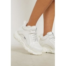 Buffalo CLD Corin White Faux Fur Trim Trainers - white UK 5 at Urban Outfitters