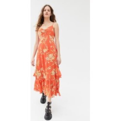 UO Sparklers Chiffon Midi Dress - Red M at Urban Outfitters found on Bargain Bro UK from Urban Outfitters (UK)