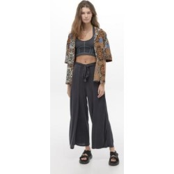 UO Cupro Wrap Culotte Trousers - Black M at Urban Outfitters found on Bargain Bro UK from Urban Outfitters (UK)