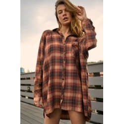 UO Brown Ashley Check Shirt Dress - Brown XS at Urban Outfitters found on Bargain Bro UK from Urban Outfitters (UK)