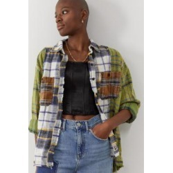 UO Kaden Raw Edge Check Shirt - Green S at Urban Outfitters found on Bargain Bro UK from Urban Outfitters (UK)