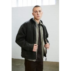 BDG Zip-Through Borg Lined Canvas Work Jacket - Green S at Urban Outfitters found on Bargain Bro UK from Urban Outfitters (UK)