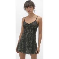 Urban Renewal Inspired By Vintage Khaki Snake Mesh Slip Dress - green L at Urban Outfitters