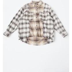 UO Kaden Raw Edge Check Shirt - Black M at Urban Outfitters found on Bargain Bro UK from Urban Outfitters (UK)