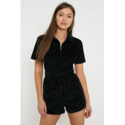 UO Hello Sunshine Black Corduroy Playsuit - Black XS at Urban Outfitters found on Bargain Bro UK from Urban Outfitters (UK)